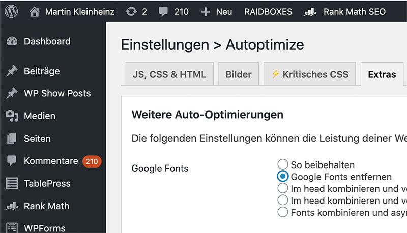 autoptimize google fonts entfernen